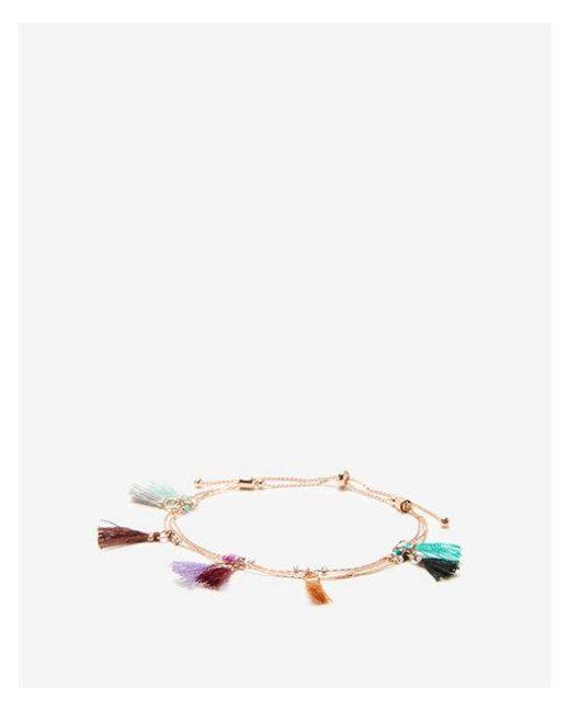 Express - Multicolor Ni Tassel Pull-cord Bracelet - Lyst