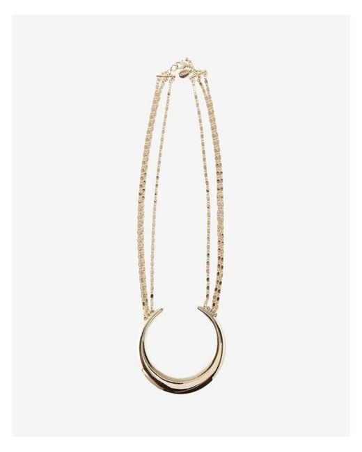 Express | Metallic Crescent Pendant Necklace | Lyst