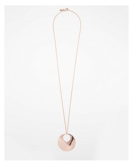 Express | Metallic Cut-out Circle Pendant Necklace | Lyst