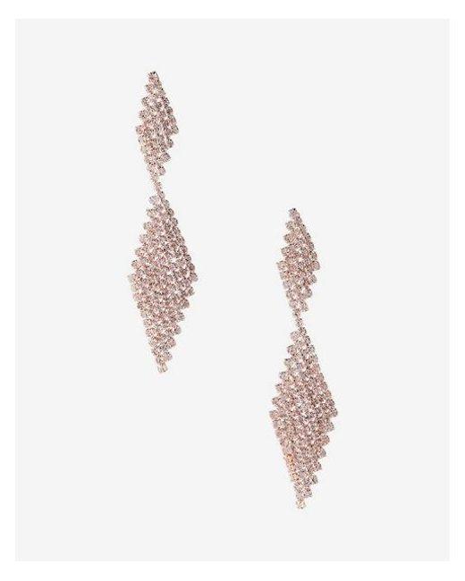 Express - Metallic Rhinestone Post Back Drop Earrings - Lyst