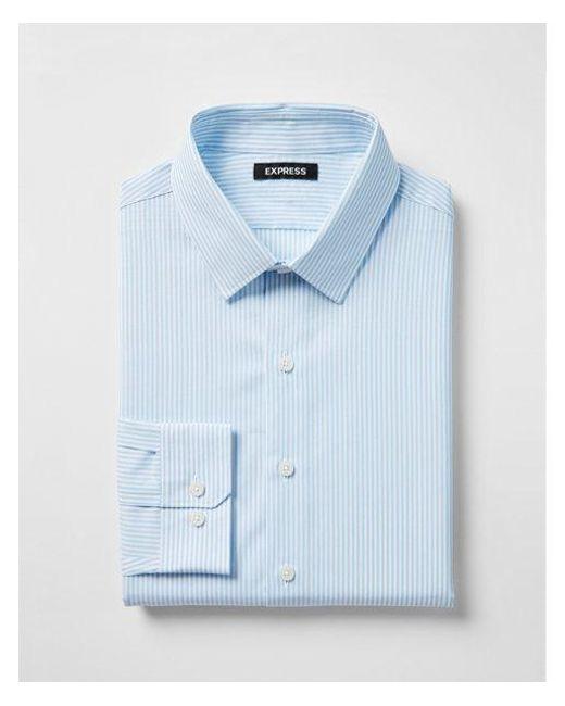 Express - Blue Slim Striped Point Collar Dress Shirt for Men - Lyst