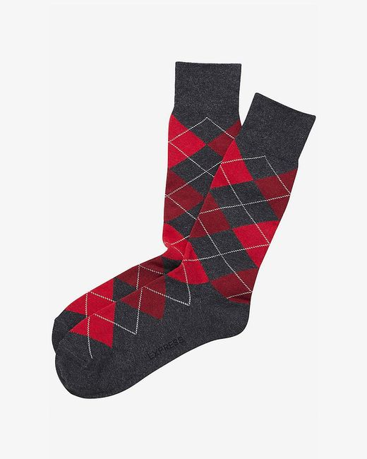 Express | Red Argyle Dress Socks for Men | Lyst
