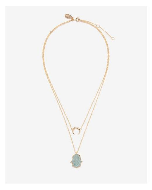 Express - Blue Two Row Layered Crescent Hamsa Pendant Necklace - Lyst