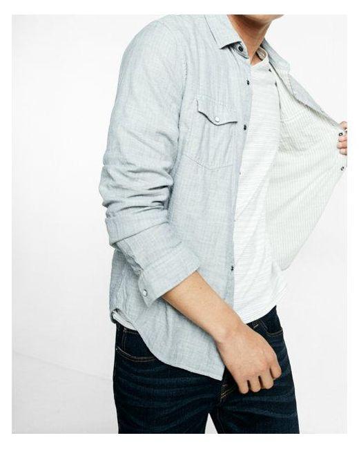 Express | Gray Double Weave Reversible Cotton Shirt for Men | Lyst