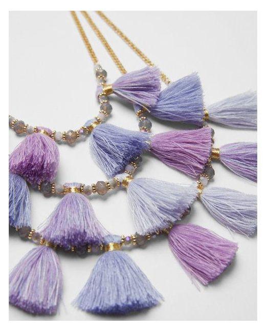 Express - Purple Three Row Beaded Tassel Necklace - Lyst