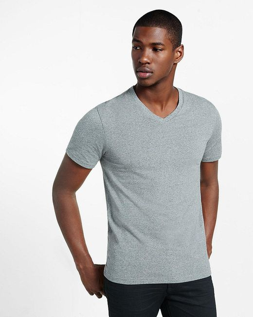 Express | Gray Heathered Flex Stretch Cotton V-neck Tee for Men | Lyst