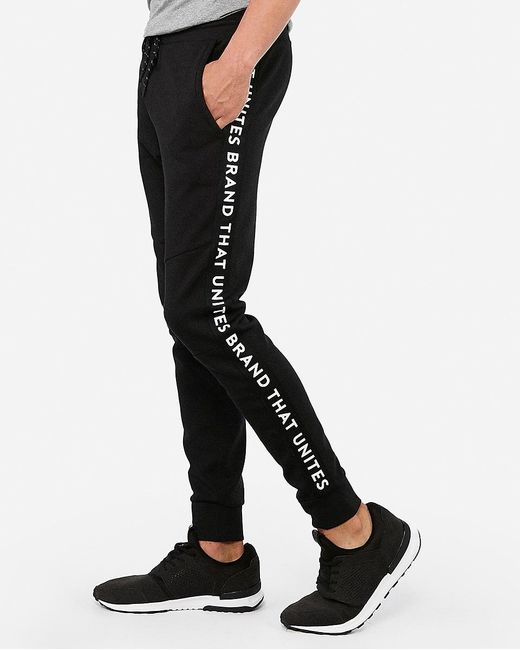 Express Taped Side Joggers Black for men