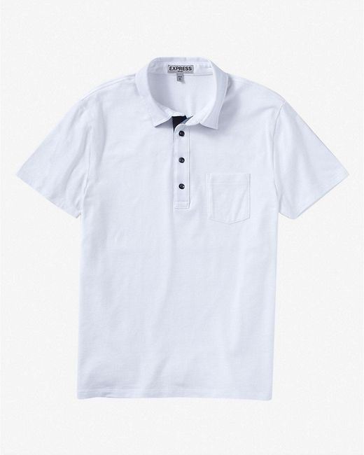 Express | White Chambray Placket Signature Polo for Men | Lyst