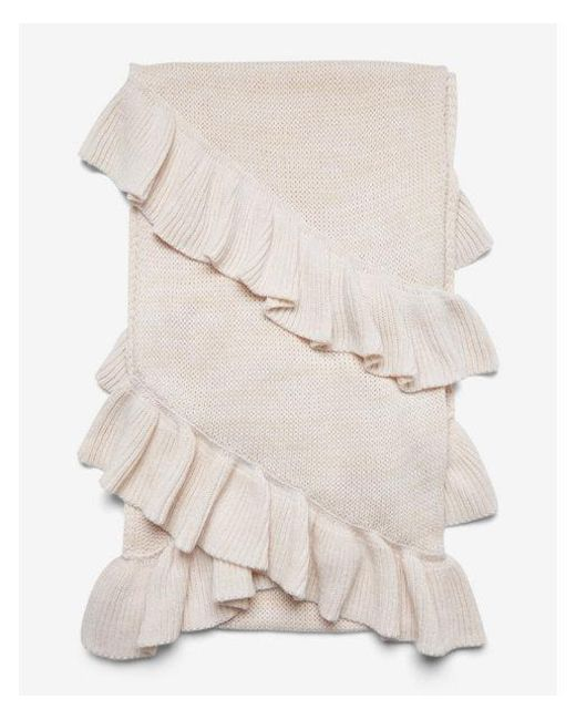 Express - Natural Marled Double Ruffle Oblong Scarf - Lyst