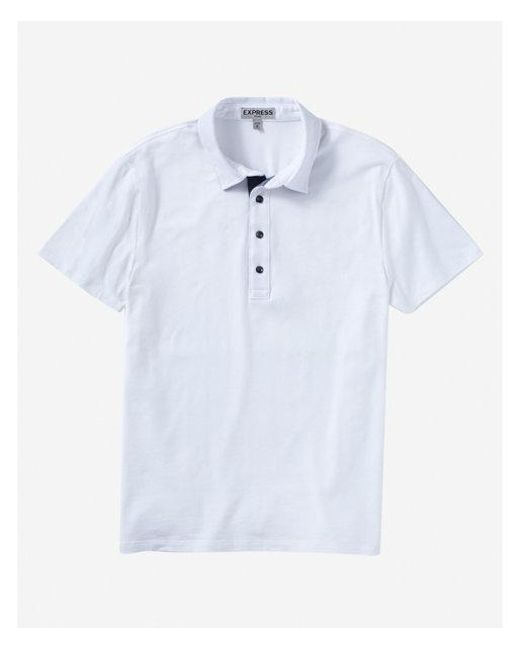 Express - White Chambray Placket Performance Polo for Men - Lyst