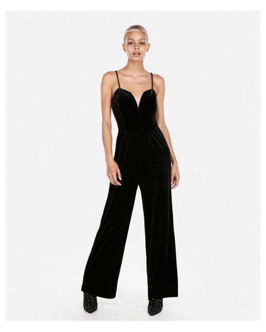 6caaf7ee033c Lyst - Express Velvet V-wire Cami Jumpsuit in Black