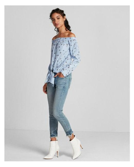 Express - Blue Striped Bird Off The Shoulder Tie Front Blouse - Lyst