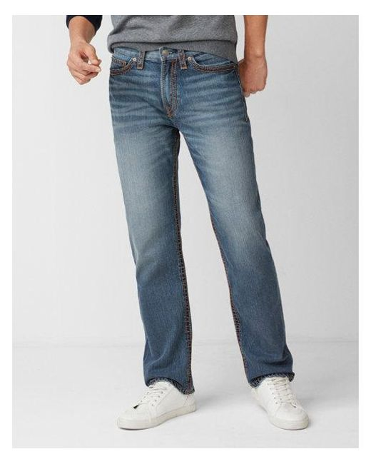 Express - Blue Loose Straight Light Wash Thick Stitch 100% Cotton Jeans, Men's Size:w28 L32 for Men - Lyst