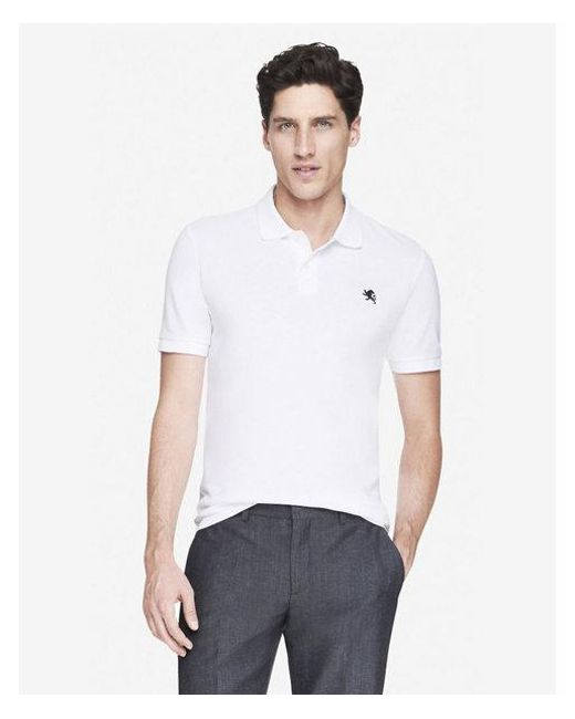 Express - White Fitted Small Lion Pique Polo for Men - Lyst