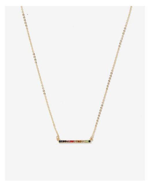 Express - Metallic Horizontal Rainbow Stone Bar Necklace - Lyst