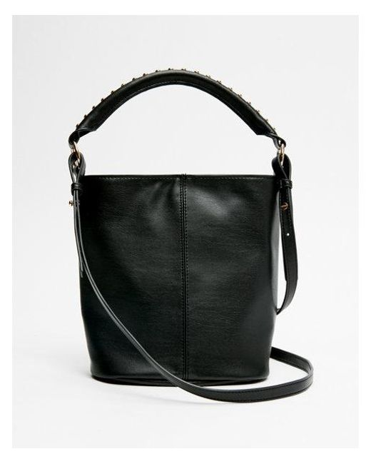 Express - Black Studded Mini Bucket Bag - Lyst