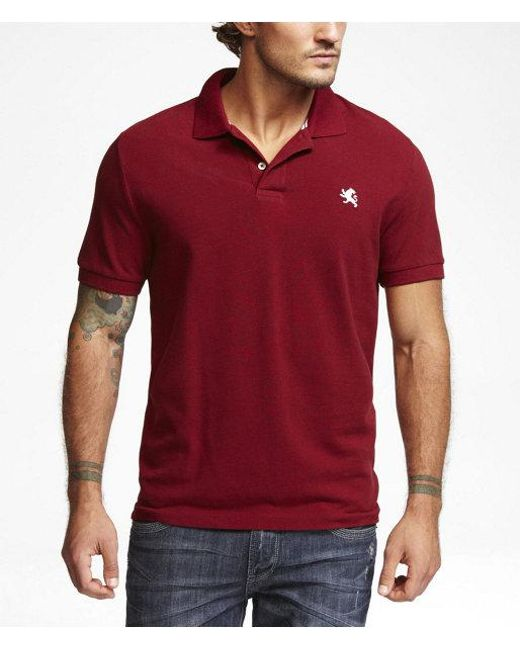 Express - Red Modern Fit Small Lion Pique Polo for Men - Lyst