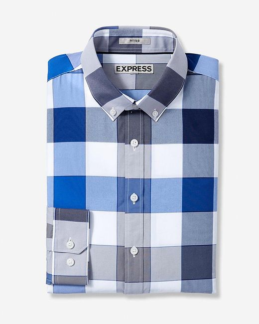 Express | Blue Fitted Easy Care Large Check Shirt for Men | Lyst