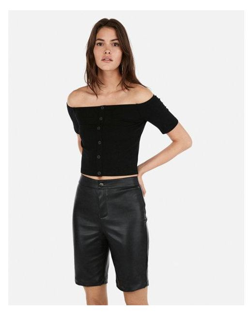 0c0f5cc11a4d3 Lyst - Express Olivia Culpo Cropped Off The Shoulder Button Top in Black