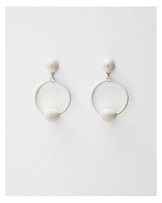 Express | Metallic Fabric Ball Hoop Drop Earrings | Lyst