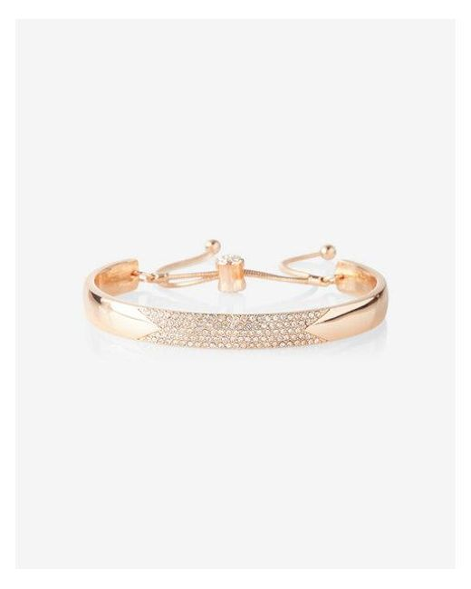 Express - Metallic Pull Chain Pave Bangle Bracelet - Lyst