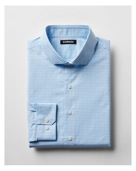 Express - Blue Classic Fit Check Spread Collar Dress Shirt for Men - Lyst