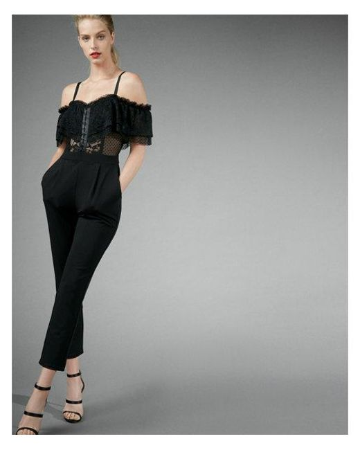 9cf1428a4128 Lyst - Express Lace Off The Shoulder Jumpsuit in Black