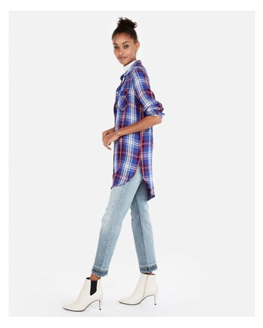 Express - Blue Plaid Print Oversized Button Front Tunic - Lyst