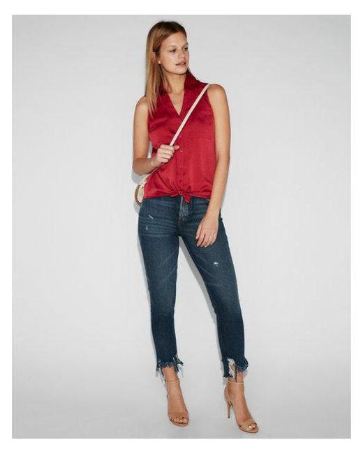 e96c1aa9e7f5d Express Slim Fit Satin Sleeveless Portofino Shirt in Red - Lyst