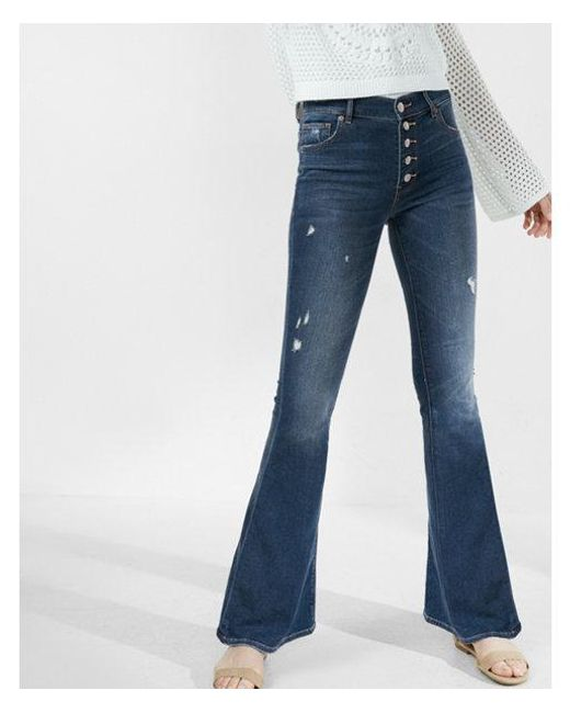 Express - Blue High Waisted Button Fly Stretch+supersoft Bell Flare Jeans, Women's Size:4 Short - Lyst