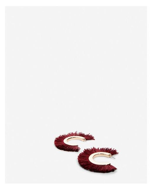 Express - Red Fringe Open Hoop Earrings - Lyst