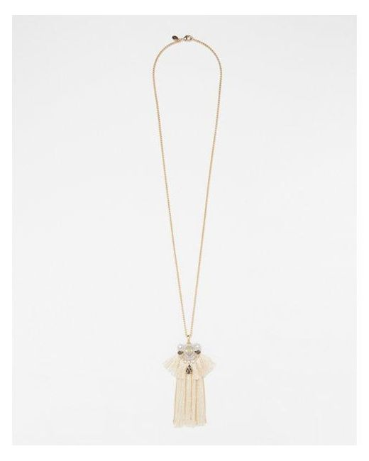 Express - Metallic Embellished Tassel Pendant Necklace - Lyst