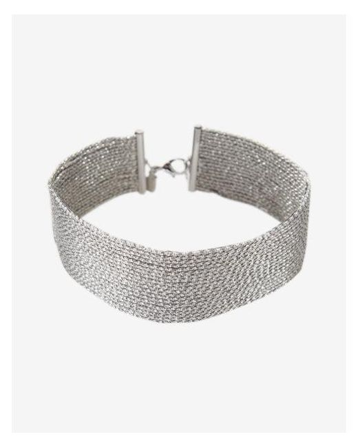 Express - Metallic Sparkle Chain Choker Necklace - Lyst