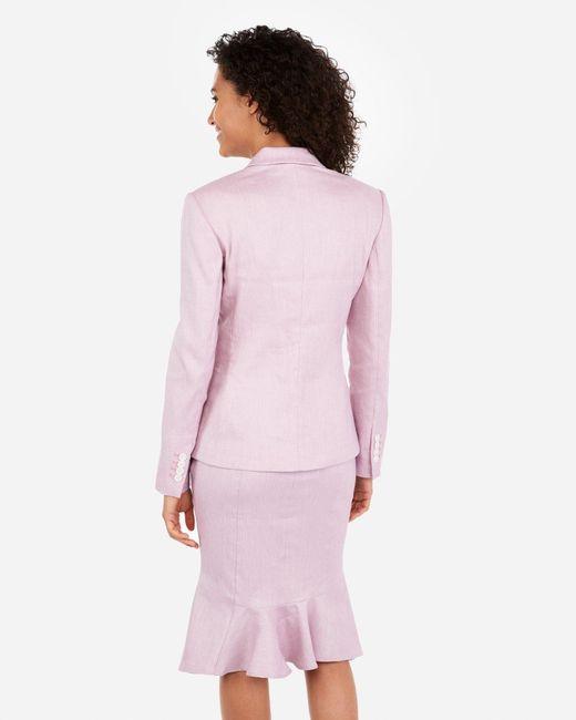 Express - Marled Linen-blend One Button Blazer Purple - Lyst