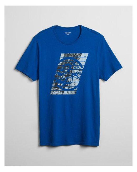 Express - Blue Slant Lion Logo Cotton Graphic Tee for Men - Lyst