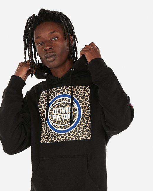 Express Detroit Pistons Nba Fleece Hoodie Black for men