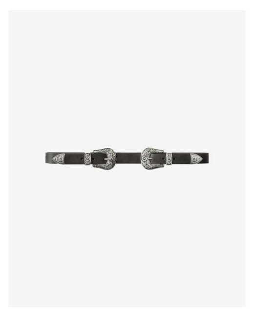 Express - Black Double Buckle Western Belt - Lyst