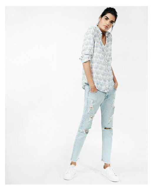 Express - Blue Etite Slim Peacock No Pocket Portofino Shirt - Lyst