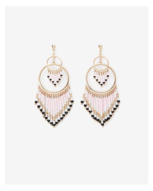 Express - Pink Color Block Beaded Circle Drop Earrings - Lyst