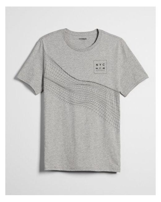 Express - Gray Big & Tall Geo Linear Twist Graphic Tee for Men - Lyst