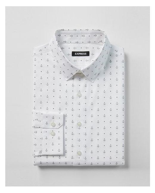 Express - Gray Big & Tall Slim Fit Anchor Print Dress Shirt for Men - Lyst