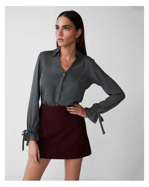 Express - Brown Slim Fit No Pocket Cinched Cuff Portofino Shirt - Lyst