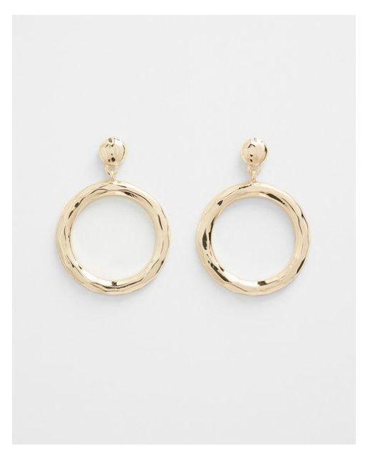Express - Metallic Hammered Circle Hoop Earrings - Lyst