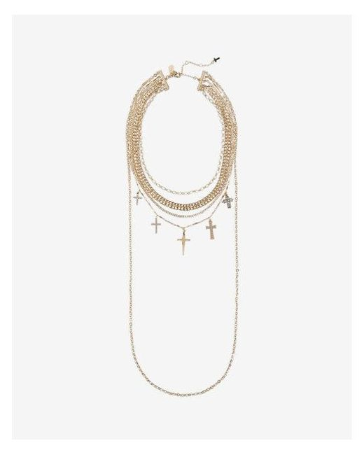 Express   Metallic Layered Braided Chain Mixed Stone Cross Necklace   Lyst