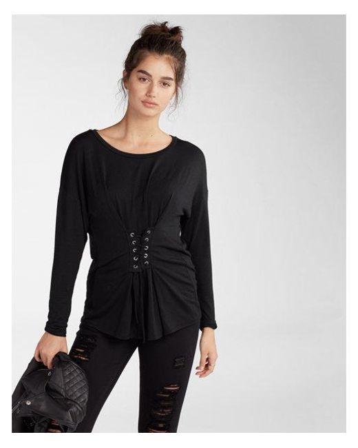 Express | Black Lace-up Corset Front Tee | Lyst