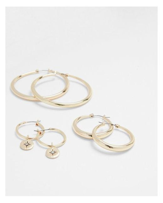 Express - Metallic Set Of Three Tube And Charm Hoop Earrings - Lyst