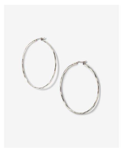 Express | Metallic Textured Metal Hoop Earrings | Lyst