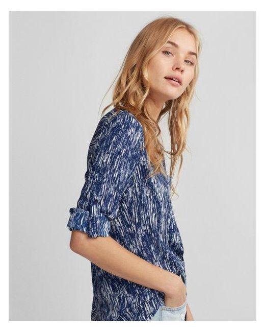 Express | Blue Slim Fit Line Print Portofino Shirt | Lyst