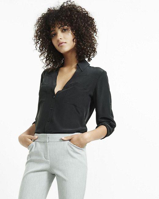 Express | Black Original Fit Convertible Sleeve Portofino Shirt | Lyst
