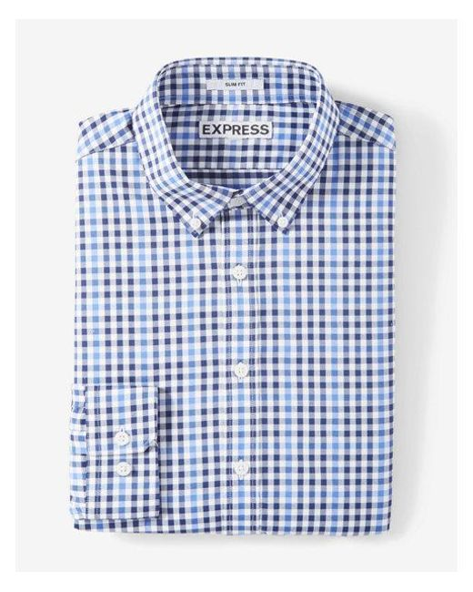 Express | Blue Extra Slim Fit Plaid Performance Dress Shirt for Men | Lyst